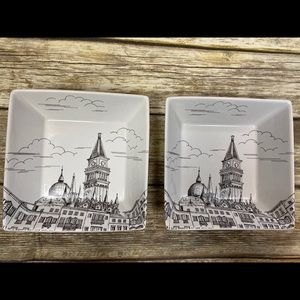 """222 Fifth CITY SCENES TWO soup/cereal bowls 7.25"""""""